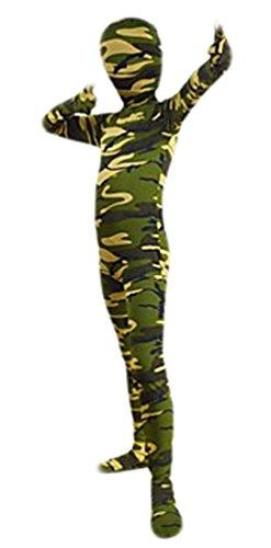 Seeksmile Kids Costume Full Body Lycra Zentai Suit (Large, Green Camouflage)