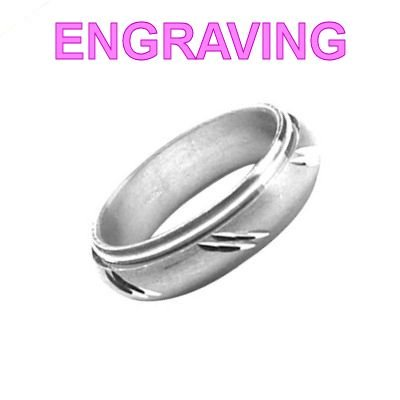 So Chic Jewels - 925 Sterling Silver 6 mm Rotating Removable Anti-Stress Diagonal Oblique Bar Motif Wedding Band Ring - Your Message Engraved Free