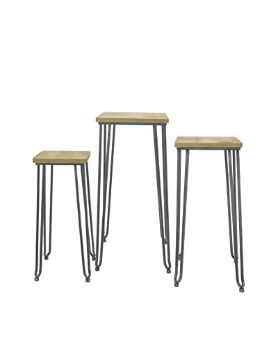 Three Hands Set of 3 Industrial Metal & Wood Nesting Tables, Brown As You See