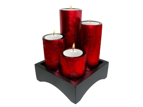 Metallic red- set of decorative wooden lacquer cylinder shapped tea-light candleholders-6.75