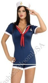 Sexy Military Sailor Navy Girl Blue Romper Outfit