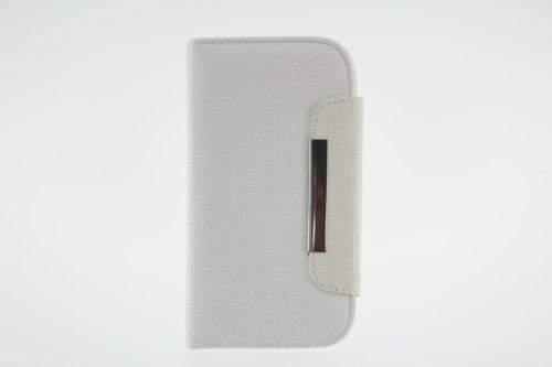 JAPAEMO Galaxy S4 (SC-04E) レザー調 フリップ型 カードケース付き ストラップホール付き マグネットタイプ 全4色ドコモ ギャラクシーS4 ケース ホワイト [JE00983]