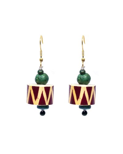 Fashion Indosheen Green Zig Zag Wooden Earrings Fashion Earring For Women