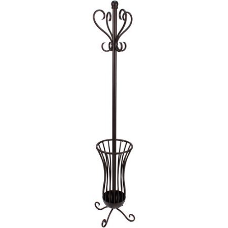 Traditional Metal Coat and Hat Rack with Umbrella Stand, Oil-Rubbed Bronze Finish
