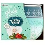 PACK OF 2 GLADE FRAGRANCED CANDLES IN DECORATED GLASS. WINTER WHITE FRAGRANCE. LIMITED EDITION CHRISTMAS/HOLIDAY/WINTER SEASON.