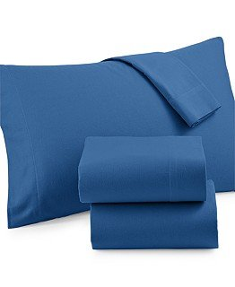 Martha Stewart Collection Solid Flannel Twin Sheet Set (Twin, Flurry Blue)