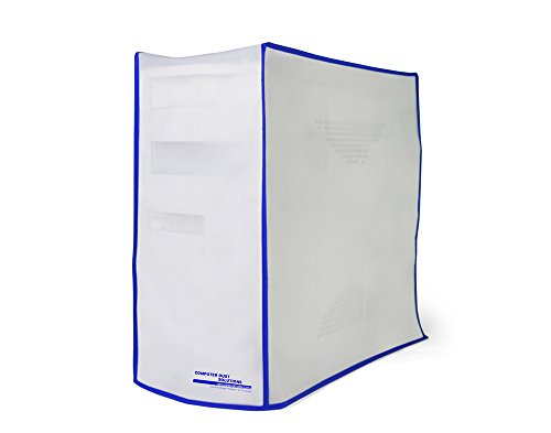 Computer Dust Solutions CPU Dust Cover, Covers PC Case, Silky Smooth Antistatic Vinyl, Translucent Coconut Cream Color with Blue Trim, Several Sizes