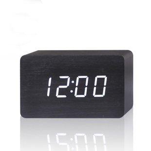 Kabb Black Wood Grain White Led Light Alarm Clock - Time Temperature - Sound Control - Latest Generation(Usb/3Xaaa)