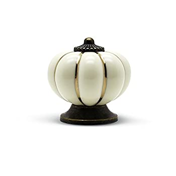 YDO(TM) Pumpkin Knobs Ivory Kitchen Cabinet Pull Ceramic Handle 8pcs