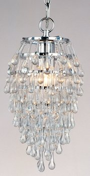 AF Lighting Crystal Teardrop 1 Light Foyer Pendant Chrome