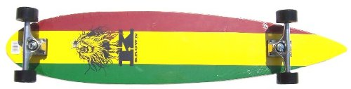 Krown Rasta Pin Tail Longboard Skateboard