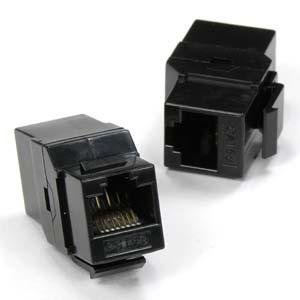 InstallerParts Cat 5E Inline Coupler w/Keystone Latch Black