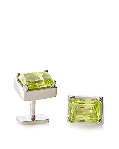 Rotenier Men's Sterling Silver Rectangle Set with Green Cubic Zirconia Cufflinks