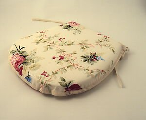Pink/Cream/Green Floral Tie-On Chair Kitchen/Dining Room/Patio Seat Pad Cushions