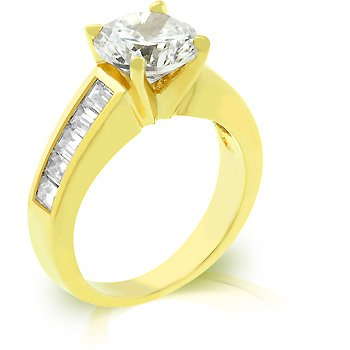14k Gold Bonded Anniversary Ring with 2ct Round Cut CZ and Channel Set Baguettes in Goldtone