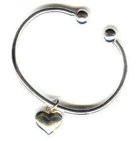 .925 Sterling Charm Bracelet with a Puffed Heart Charm