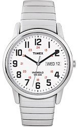 Timex #T2N091 Men's Stainless Steel Indiglo Easy Reader Expansion Band Watch