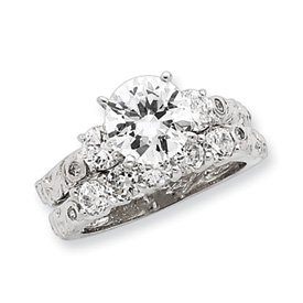Sterling Silver 2-piece CZ Wedding Ring - Size 7 - JewelryWeb