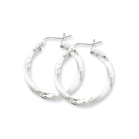 3mm, Silver, Twisted Hoop Earrings - 50mm (1-7/8