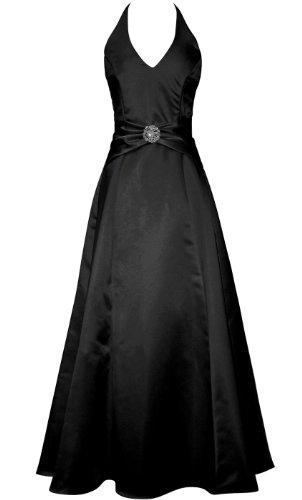 Satin Halter Dress Crystal Pin Prom Holiday Gown Formal Bridesmaid, 3X, Black
