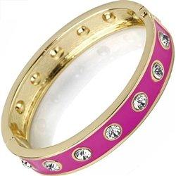 Gemstone unique pink enamel hinge bangle