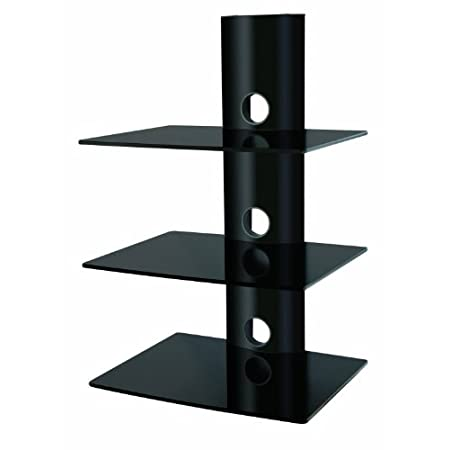 mount it triple glass shelves dvd dvr component wall. Black Bedroom Furniture Sets. Home Design Ideas
