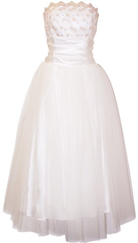 Strapless Tulle Prom Dress Holiday Formal Ball Gown Gold Embroidery, Large, Ivory and Gold