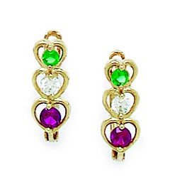 14ct Yellow Gold Green and Red CZ 3 Hearts Leverback Earrings - Measures 14x5mm