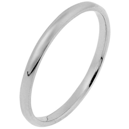 18K White Gold, Half Round Wedding Band 2MM (sz 8.5)