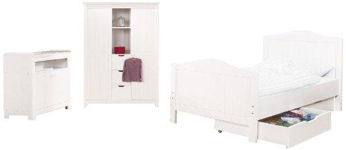 Jugendzimmer Nina breit groß, 3-teilig, Jugendbett (200 x 90 cm), breite Kommode und großer Kleiderschrank, Fichte massiv, weiß lasiert (Art.-Nr. 10 16 17 JBG)
