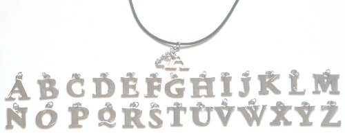 Silver Jumping Cheerleader Initial Charm Necklace | Large Block Letter V