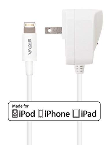 [Apple Mfi Certified] Skiva Lightning Fire W-1 Ac/Wall Charger With 8-Pin Lightning Cable [Slimmest Connector Head - 8.5Mm X 4.8Mm] For Iphone 6 6Plus 5S 5C 5, Ipad Air Air2 Mini Mini2 Mini3, Ipad 4Th Gen, Ipod Touch 5Th Gen, And Ipod Nano 7Th Gen [Model