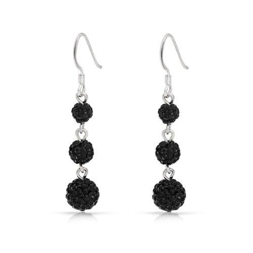 Bling Jewelry 3 Black Crystal Balls Shamballa Inspired Dangle Earrings 925 Sterling