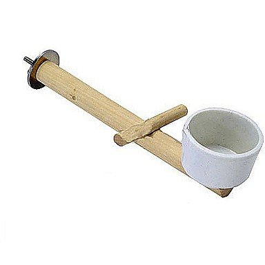 Zcl Natural Single Branch Perch Stick Rack With Food Bowl For Small Bird