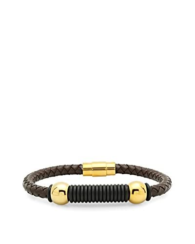 Steeltime Brown Leather & 18K Gold-Plated Bracelet