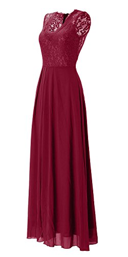 Topmelon Women's Sleeveless V Neck Lace Long Vintage Evening Formal Maxi Dresses (S, Red)