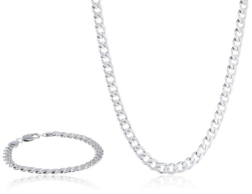 Men'S Curb Chain Stainless Steel Jewelry Box Set