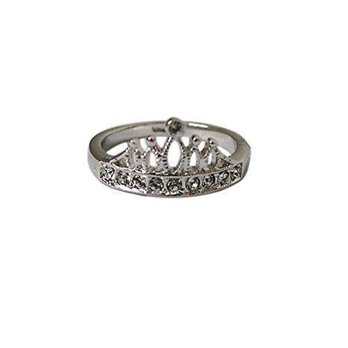 Generic Stylish White&Rose Gold Gp Crystal Crown Ring Size5.5-8