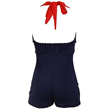 Bow Front Navy Blue Vintage Pin up Rockabilly Women's Swimsuit Swimwear