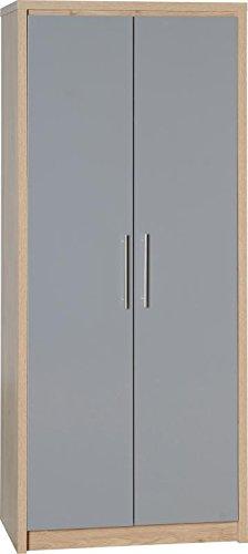 Seconique Siviglia armadio 2ante, legno, Quercia chiaro/grigio lucido