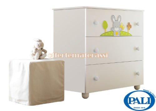 Como Pali Smart Bosco in legno 3 cassetti infanzia arredamento cameretta (bianco)