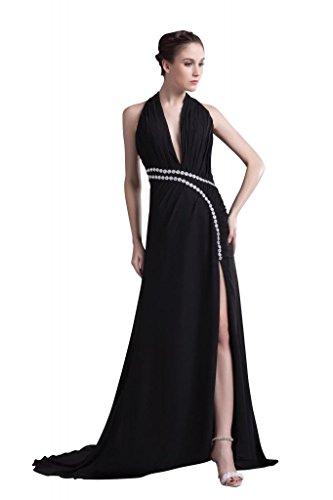 GEORGE BRIDE Profondo sexy-collo Halter nero chiffon lungo abito da sera con Split-Front Side design ,Taglia 48,Avorio