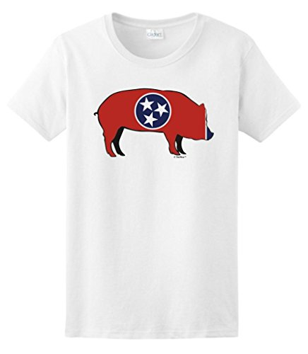 Tennessee Bbq Memphis Barbeque Capital Ladies T-Shirt Large White