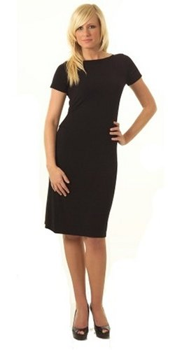 CLEARANCE SALE-Boat Neck Short Sleeve Black Dress Misses/Plus Sizes Available (Fuss Free Apparel)