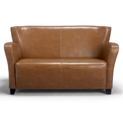 Oxford Leather Love Seat - Textured Brown Leather - Grandin Road