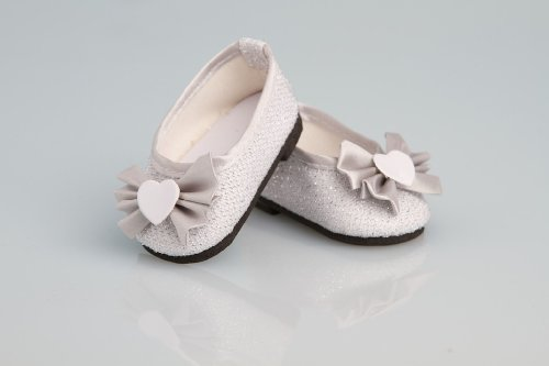 Sparking Silver Dress Shoes with Bow - 18 Inch Doll Shoes - 1