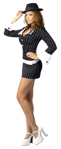 Fun World Costumes Women's Womens  Gangster, Black, S/M 2-8