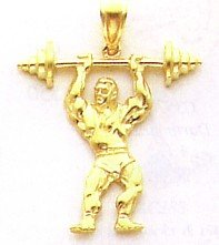14k Gold Bodybuilder with Weights Pendant [Jewelry]
