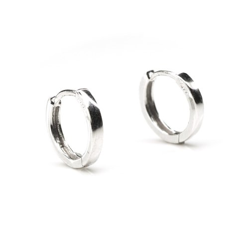 Sterling Silver Polished Finish Hoop Earrings (15 mm diameter)