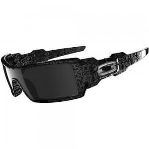 Oakley Oil Rig in Polished Black w/Ghost Text / Black Iridium Sunglasses (24-058)